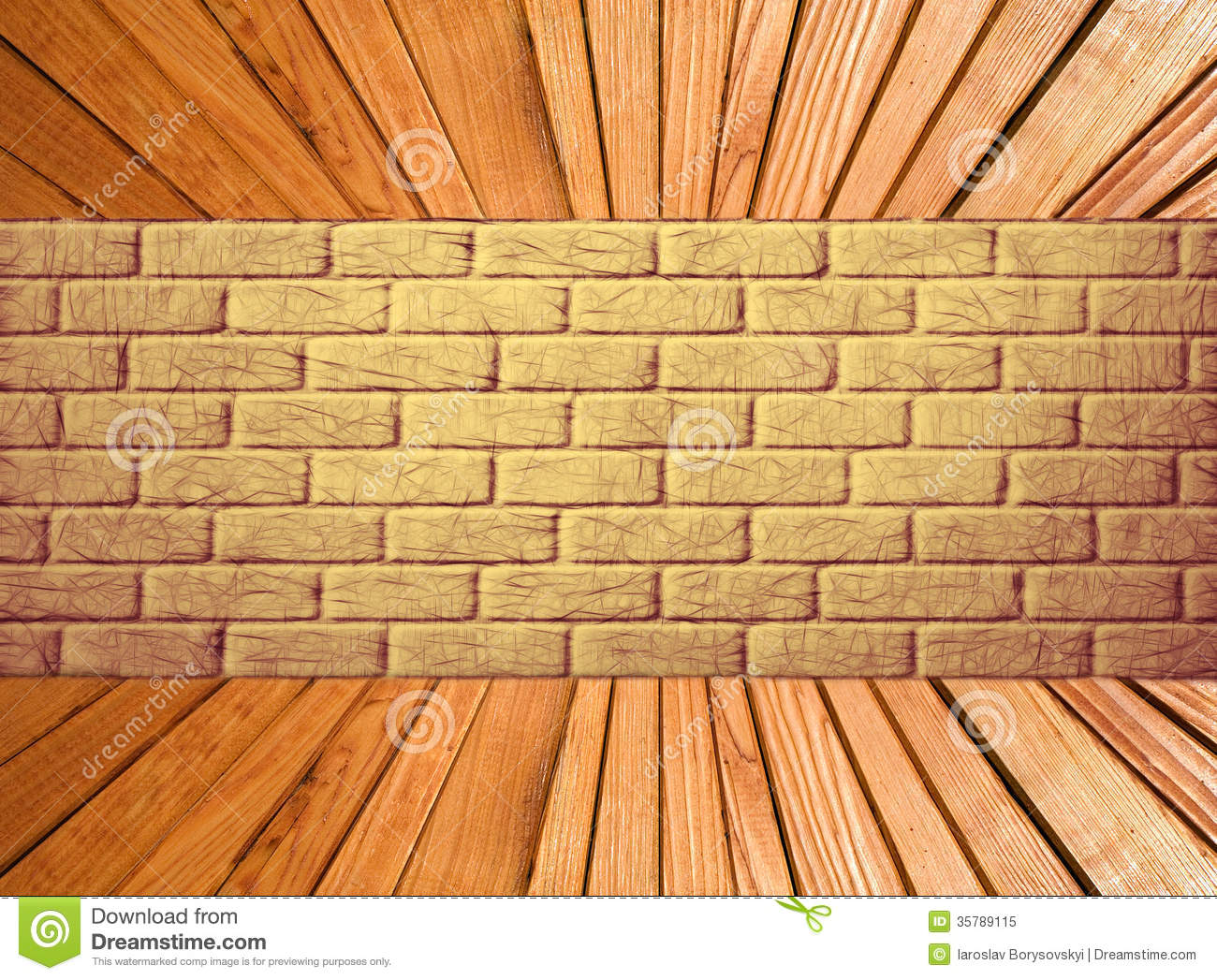 Yellow Brick Wall And Wooden Plank Floor Perspective. Stock ...