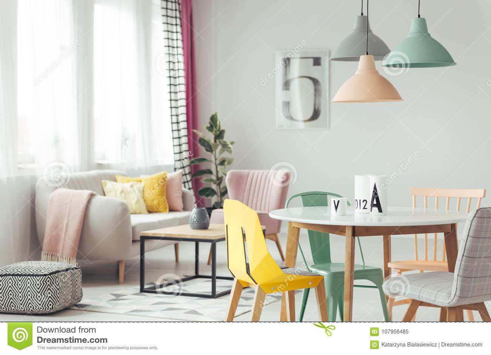 Yellow Bright Living Room Interior Stock Image - Image of modern ...