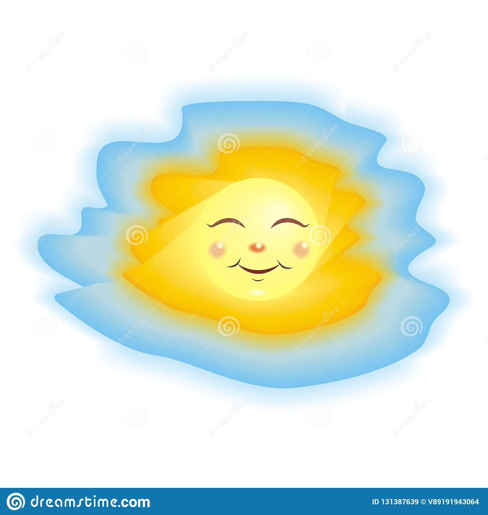 bright yellow sun on a blue sky background