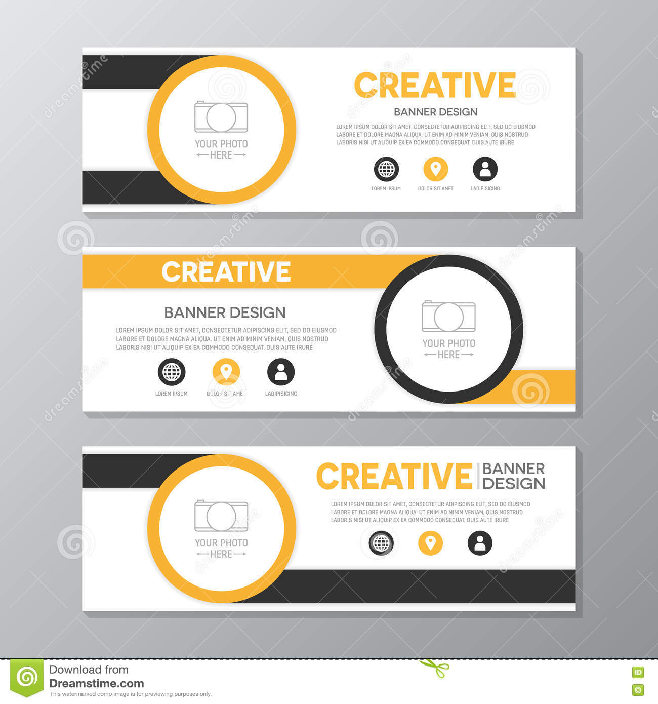 Yellow And Brown Corporate Business Banner Template Horizontal