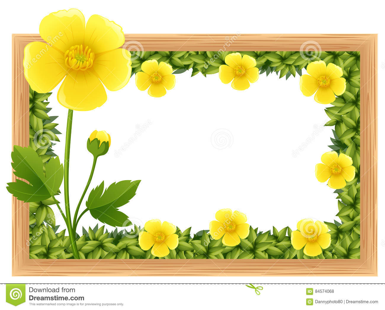 792afd859565c Yellow Buttercup Flowers As Frame Design Stock Vector - Illustration ...