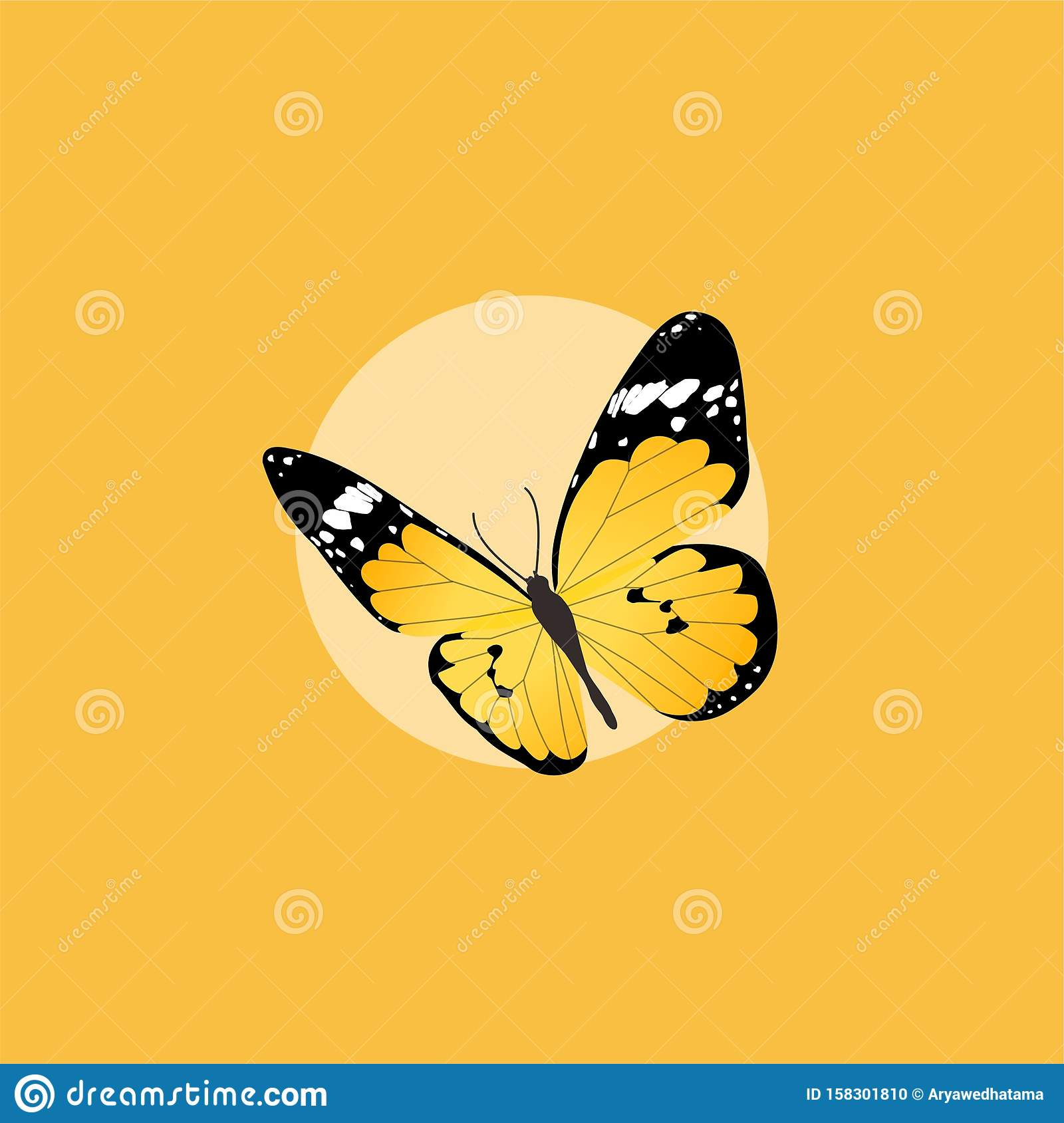Yellow Butterfly Flat Design On Yellow Background Stock ...