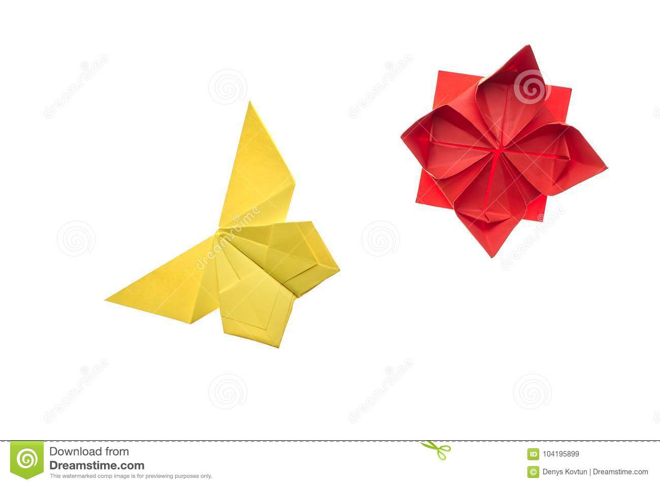 Yellow Butterfly And Red Flower Stock Image Image Of Handmade