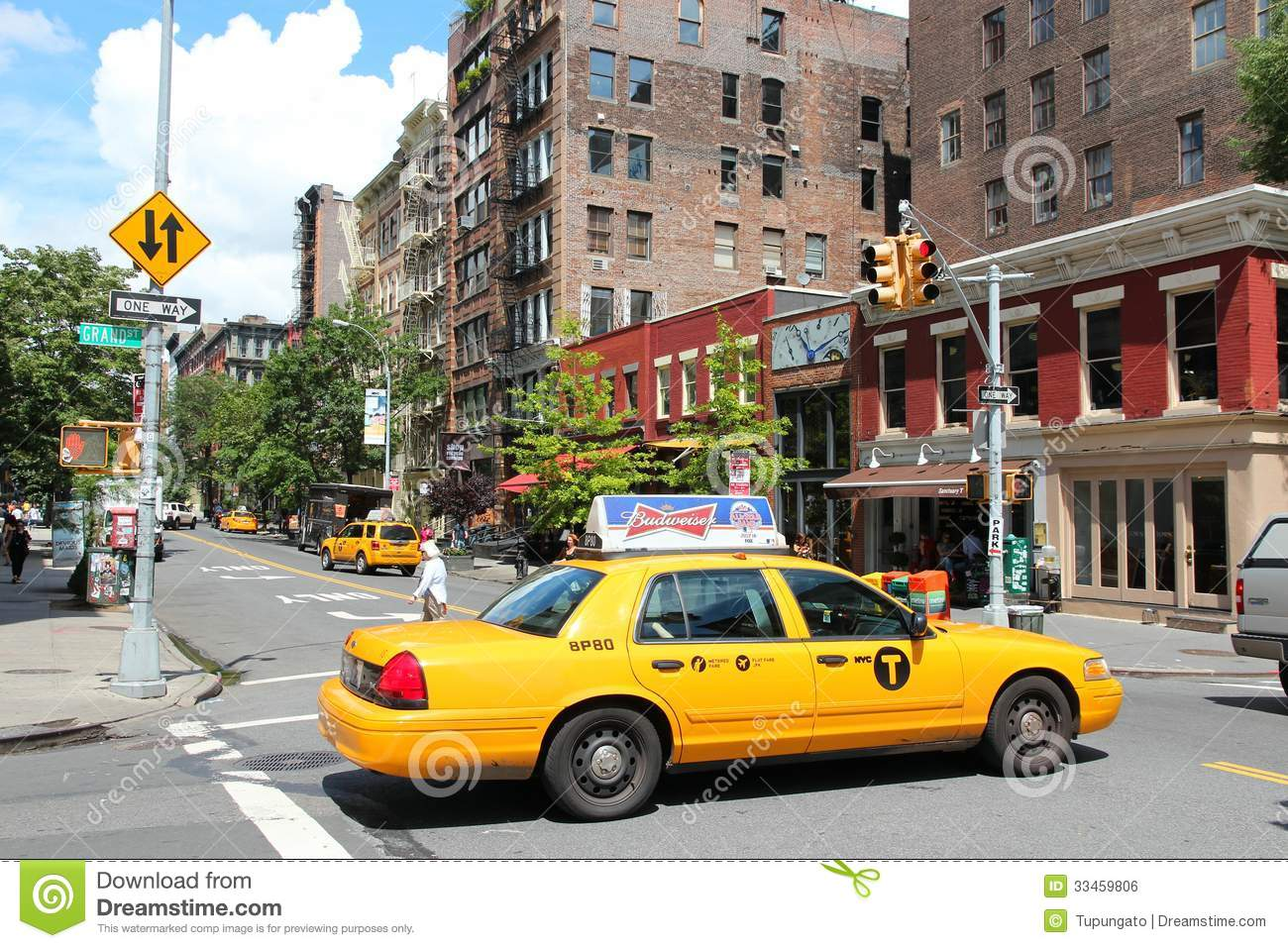 yellow cab in new york editorial image. Black Bedroom Furniture Sets. Home Design Ideas
