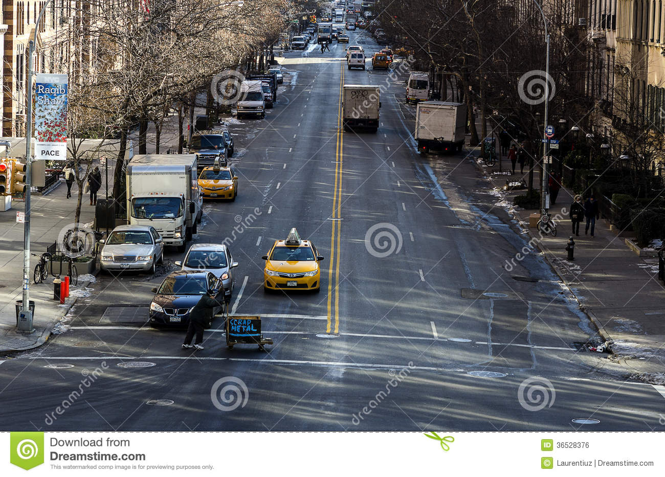 Yellow Cab On The Streets Of Western Manhattan Editorial Photo
