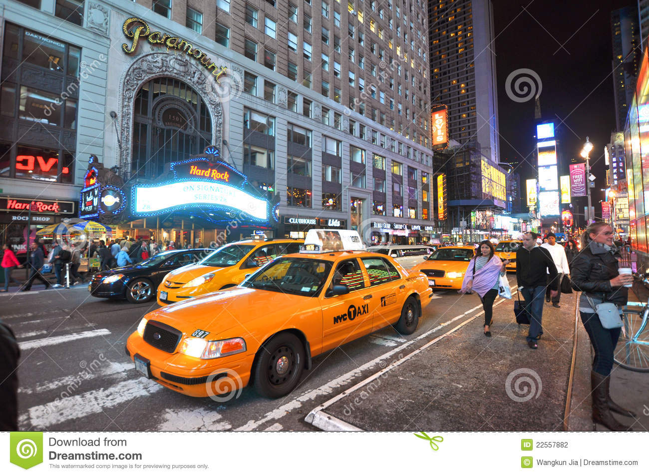 Poster New York Taxi.Yellow Cab In Times Square At Night New York City Editorial