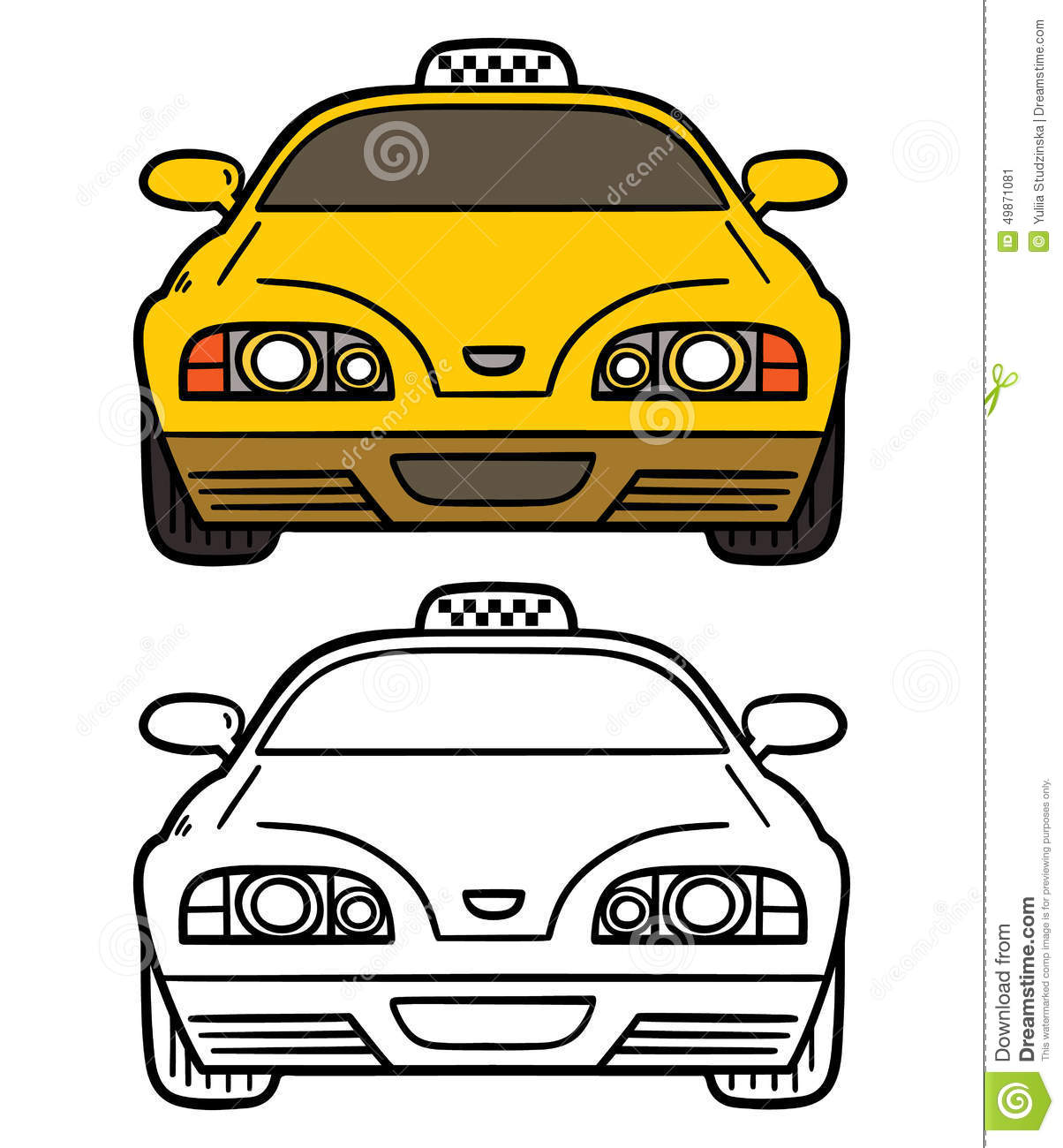 Stock Illustrations of Yellow Taxi - Classic, retro yellow ... |Yellow Taxi Cab Drawing