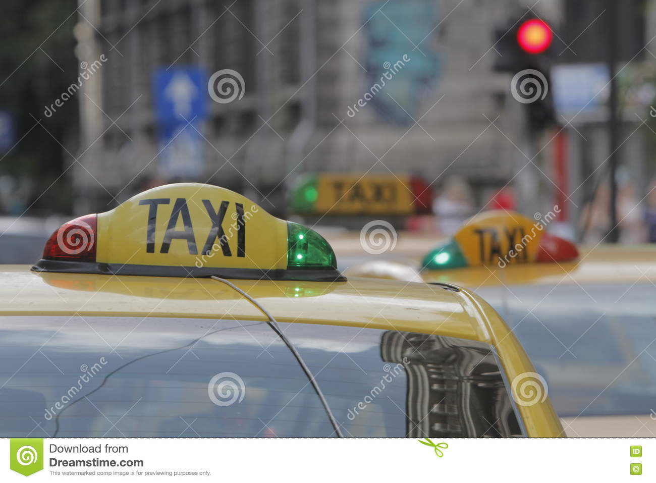 Yellow Cabs Waiting For Clients Editorial Photography