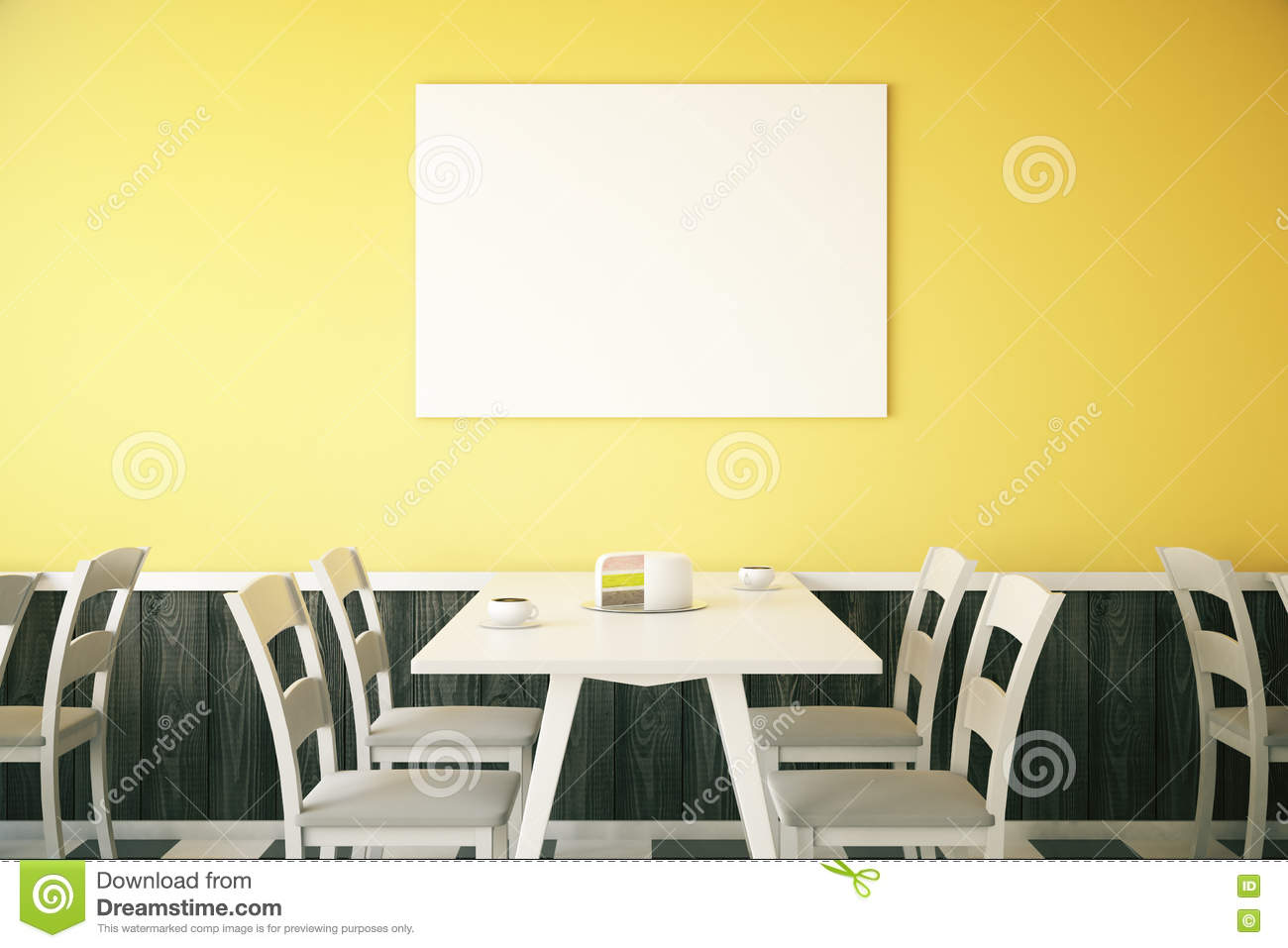 yellow cafe interior with poster stock illustration - image: 72857100
