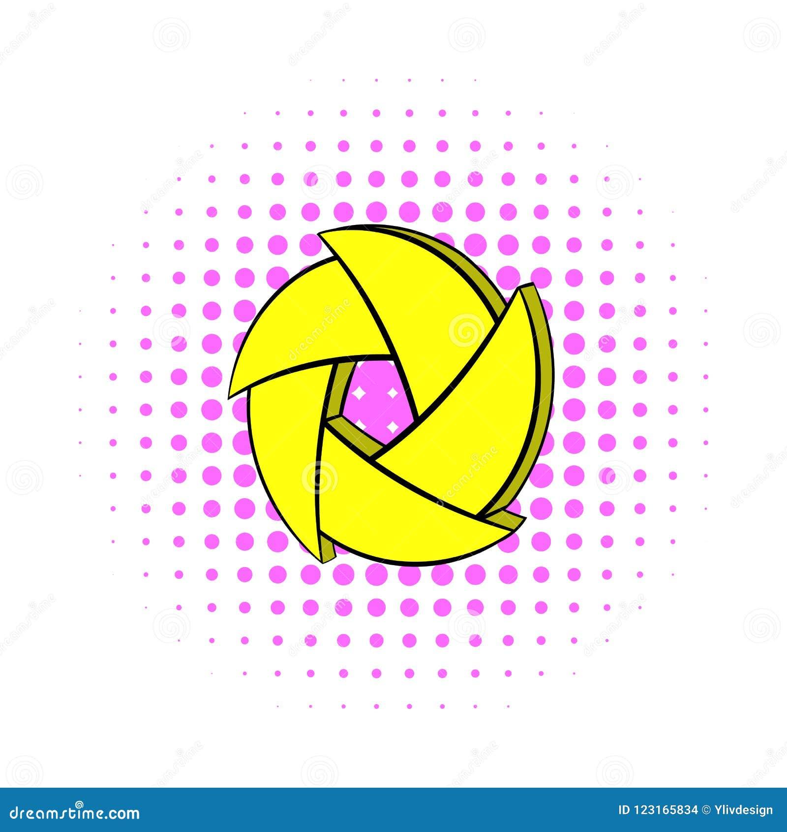 Yellow camera aperture icon, comics style