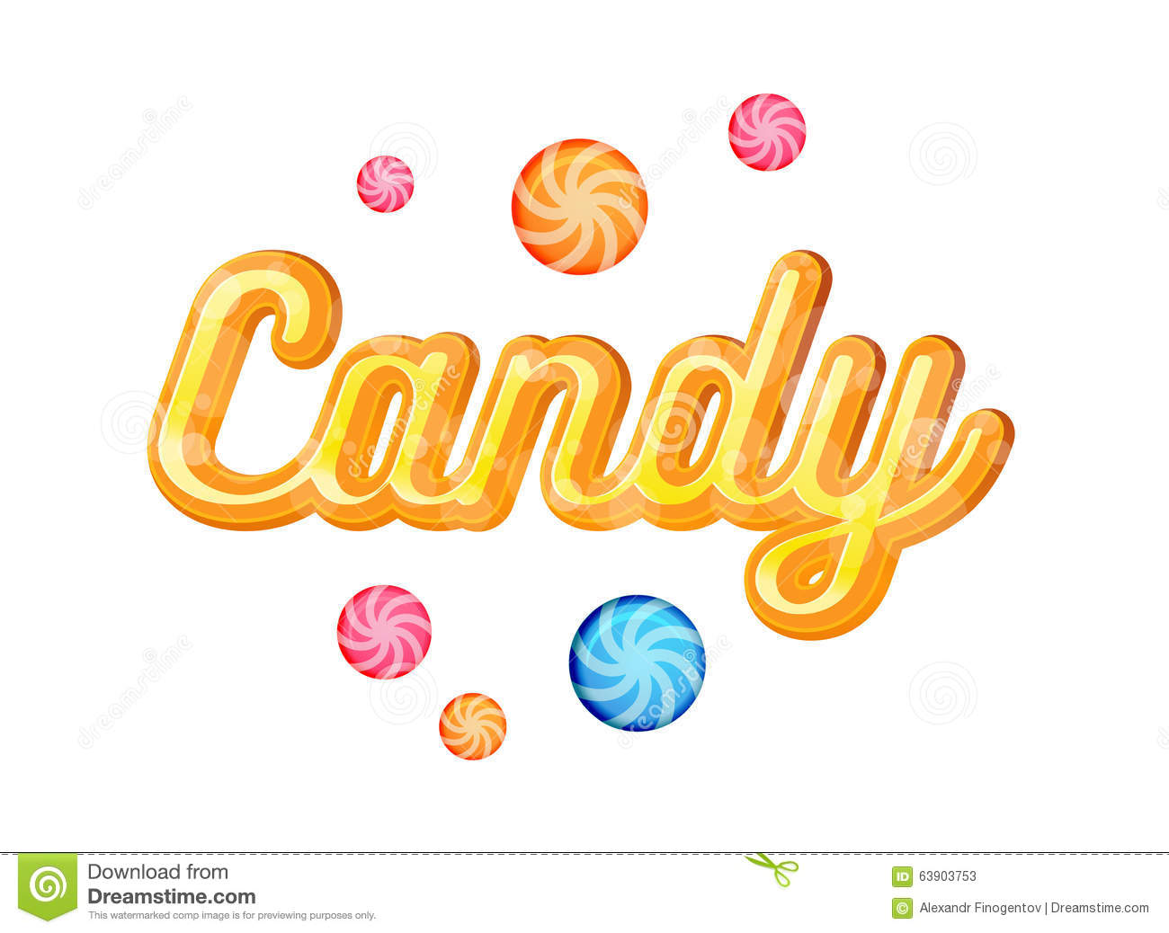 Yellow Candy Font Heading Vector For Posters Illustration