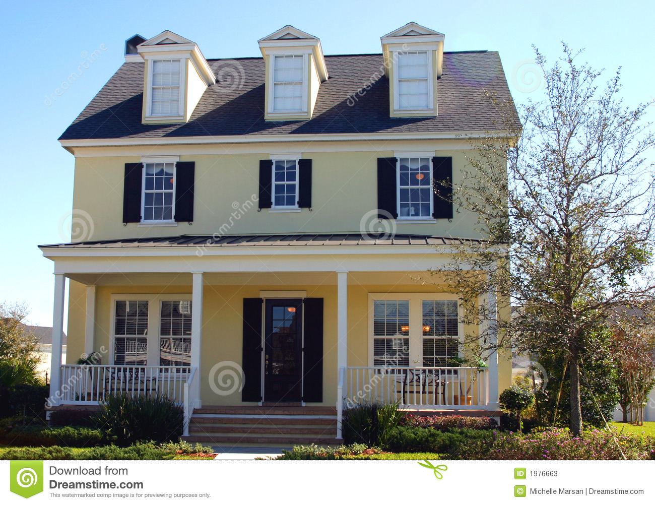 Yellow Cape Cod Style Dream Home Stock Photos Image 1976663
