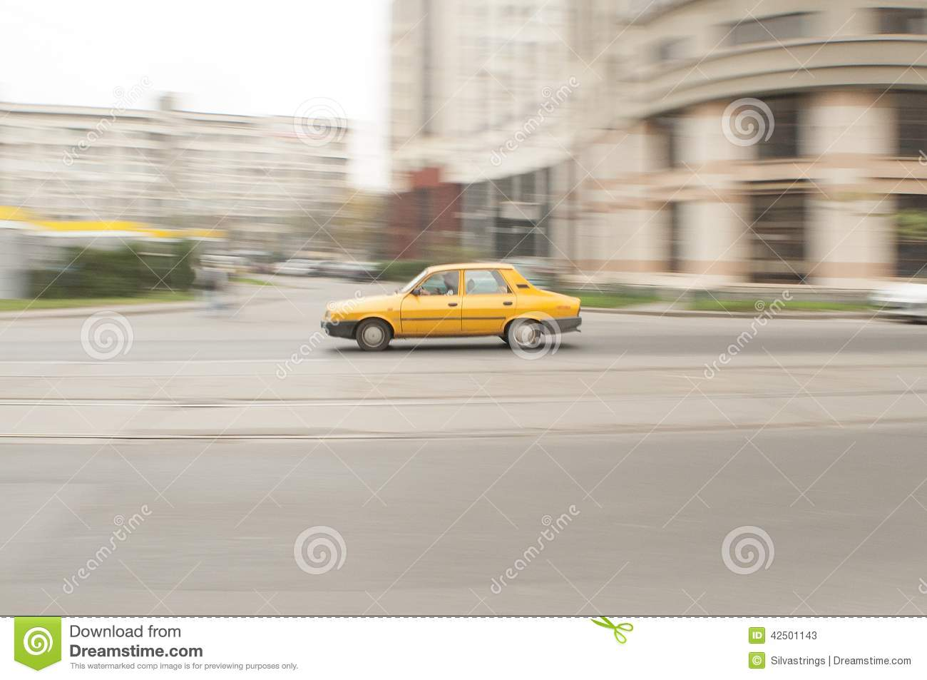 Yellow car blurred background