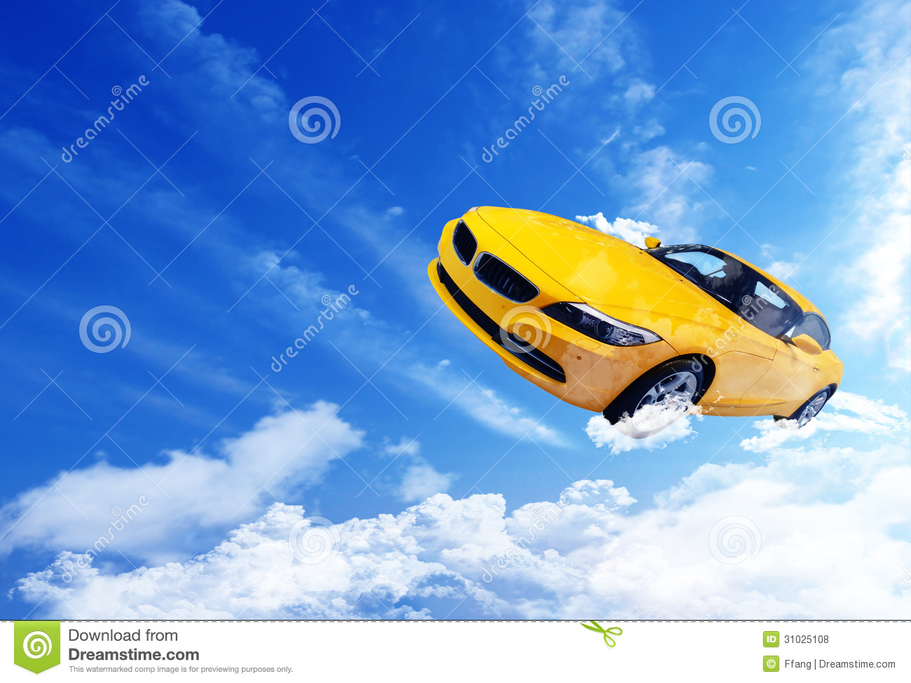 Yellow car flying over clouds 31025108 jpg