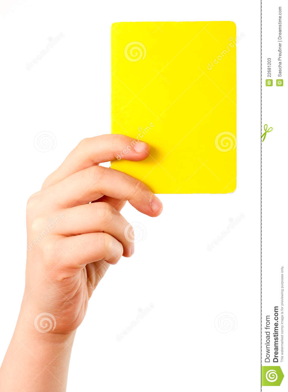 Yellow Card In Hand Stock Photos Image 22681203