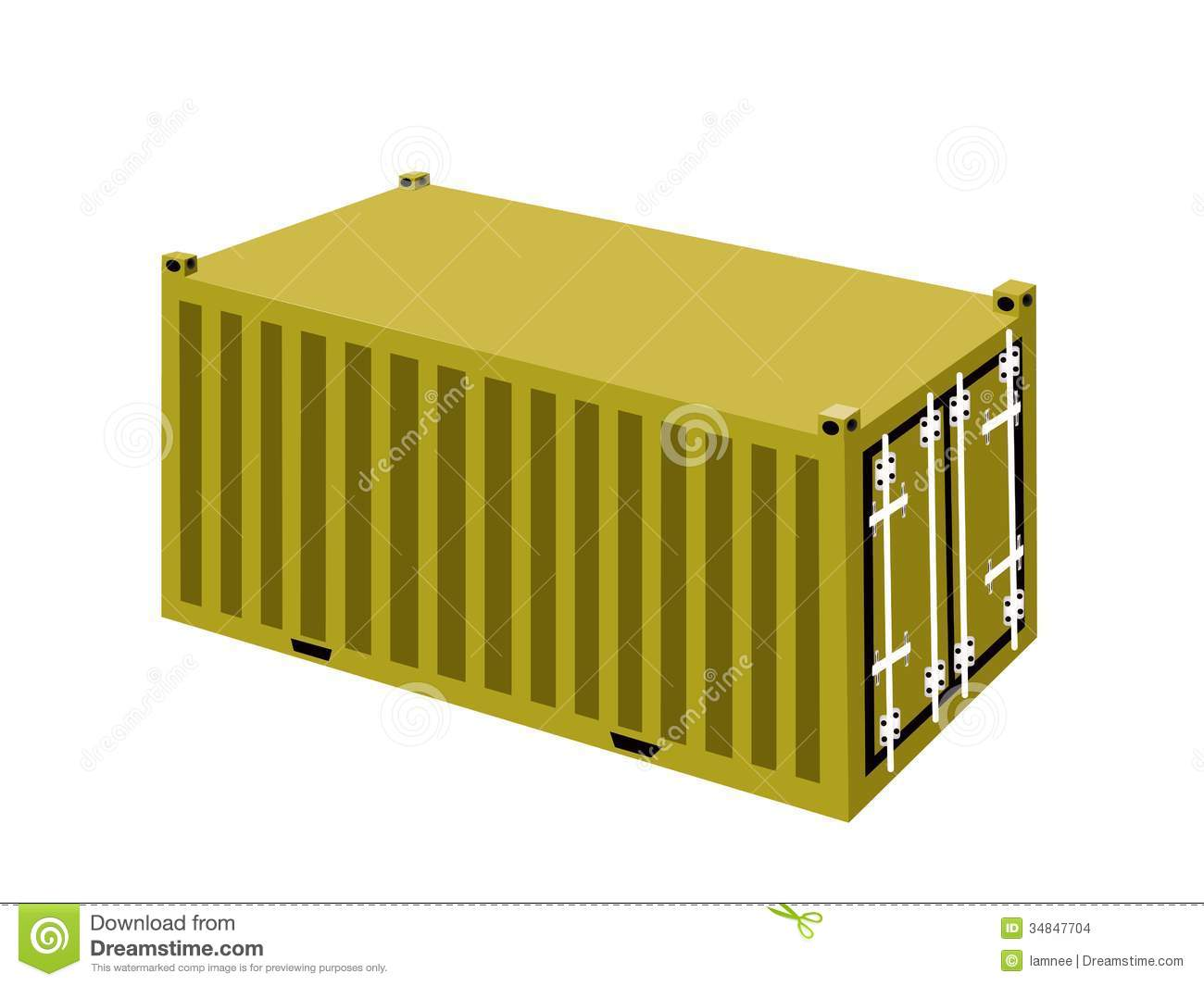A yellow cargo containers on white background stock images for Container en