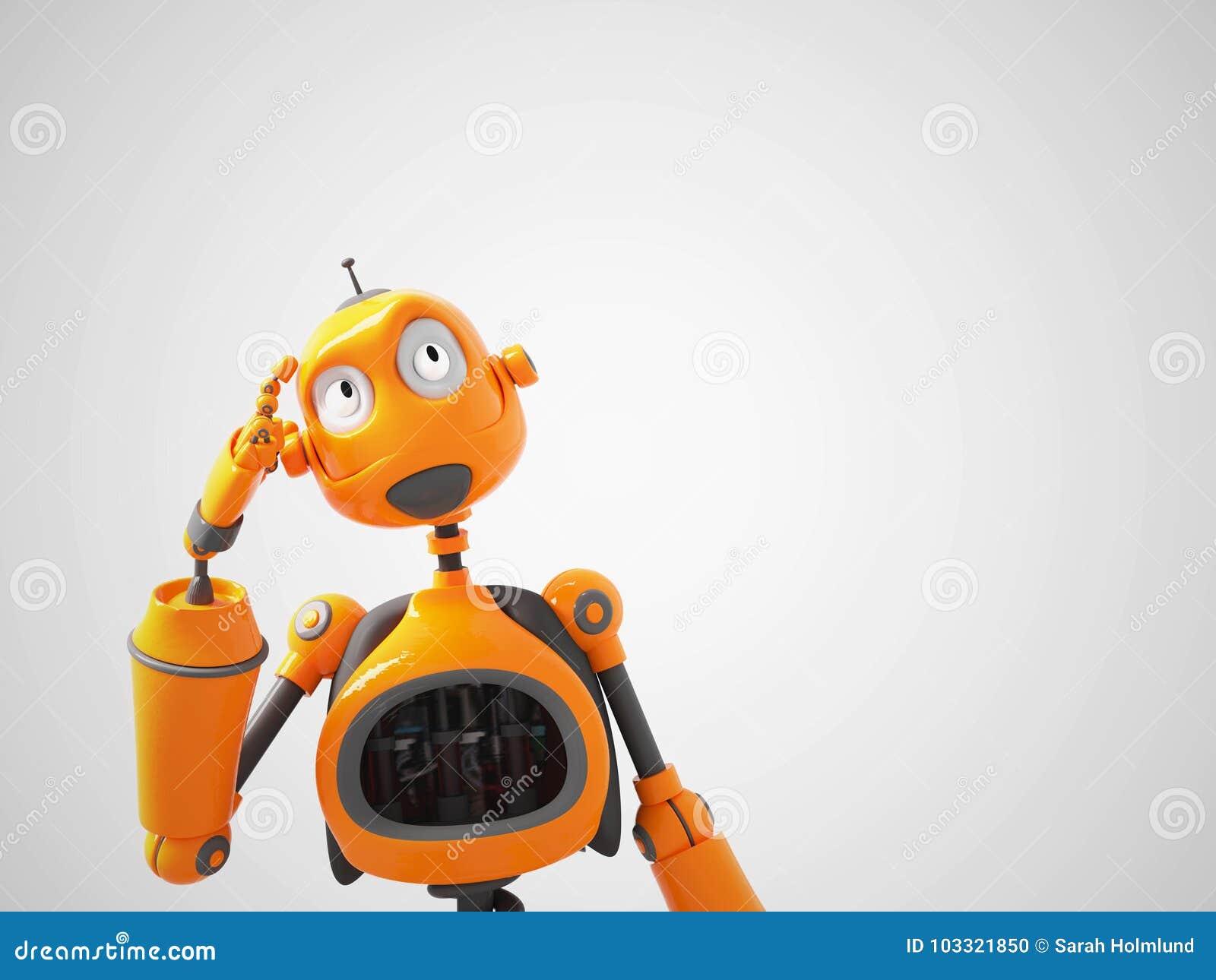 Yellow Cartoon Robot Thinking About Something Stock Illustration