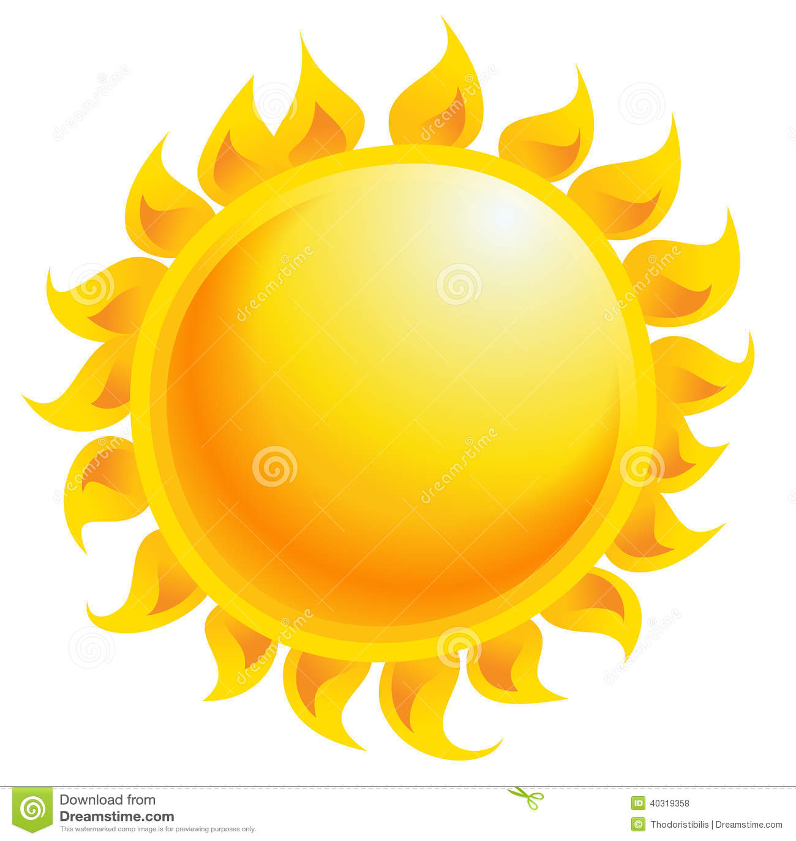 Yellow Cartoon Vector Sun Shining Isolated In White