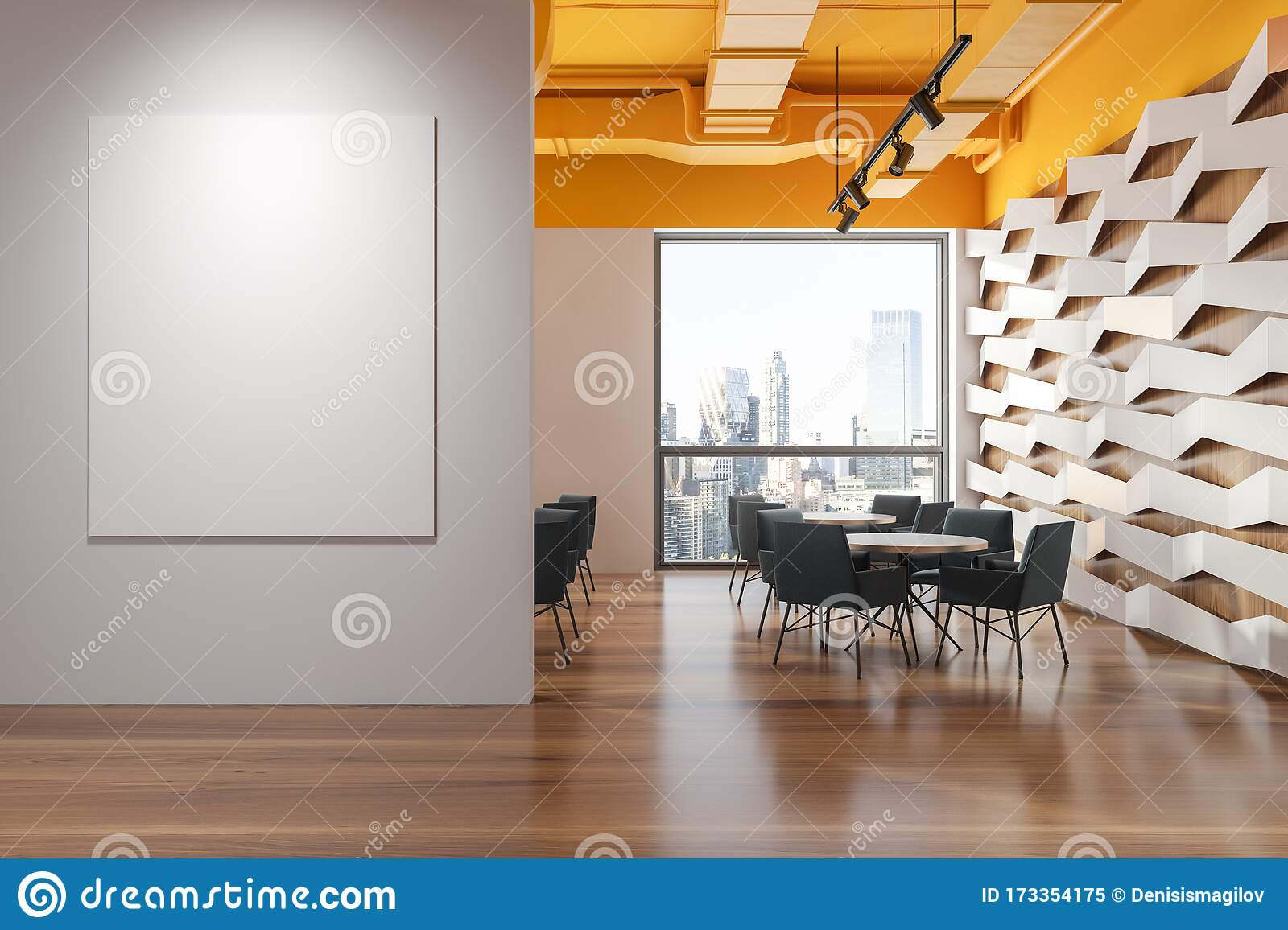 Yellow Ceiling Geometric Pattern Cafe With Banner Stock Illustration Illustration Of Elegance Copy 173354175