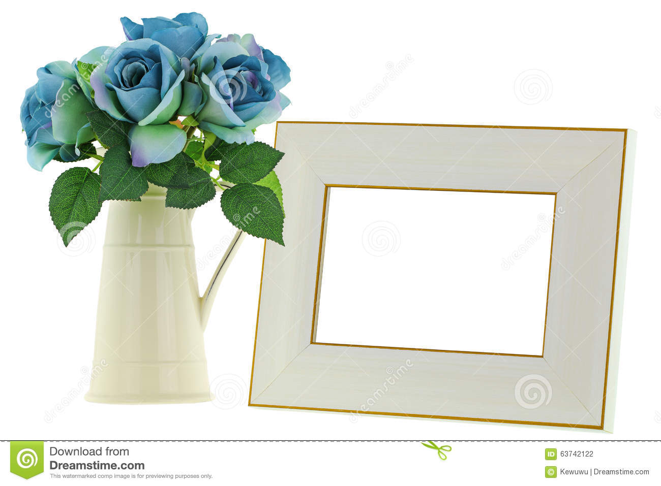 Yellow ceramic jug vase next to blank beige wooden picture frame royalty free stock photo reviewsmspy