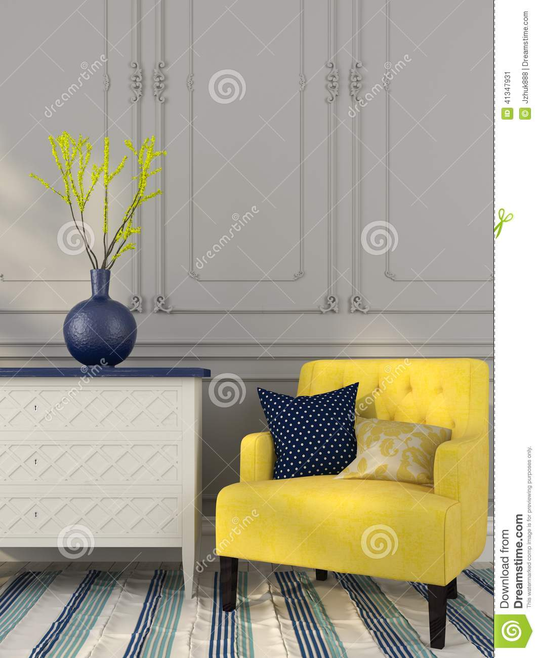 Superior Yellow Chair Near The White Chest Of Drawers