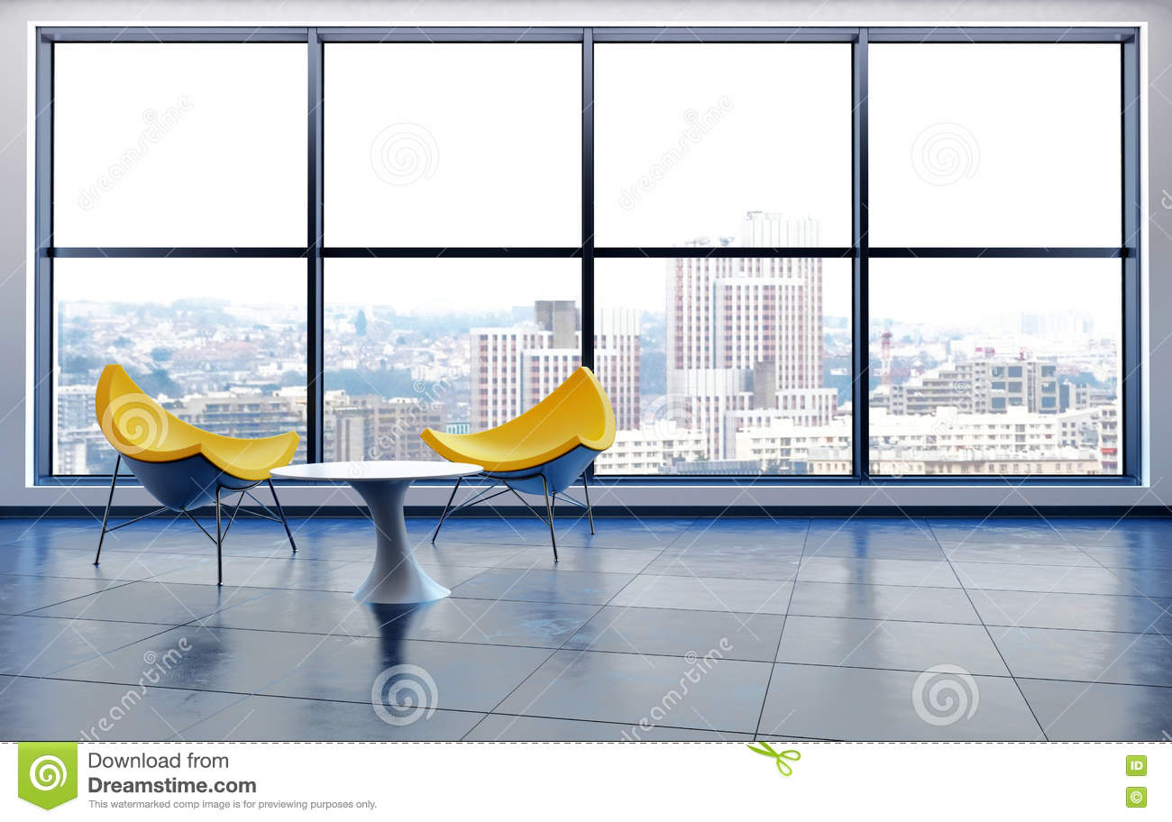 Yellow Chairs By Window In City High Rise Building Stock