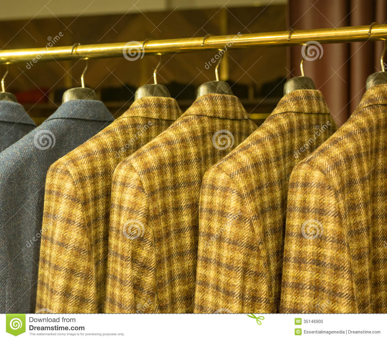 Yellow Checkered Suits On Rack Stock Photo Image 35146900