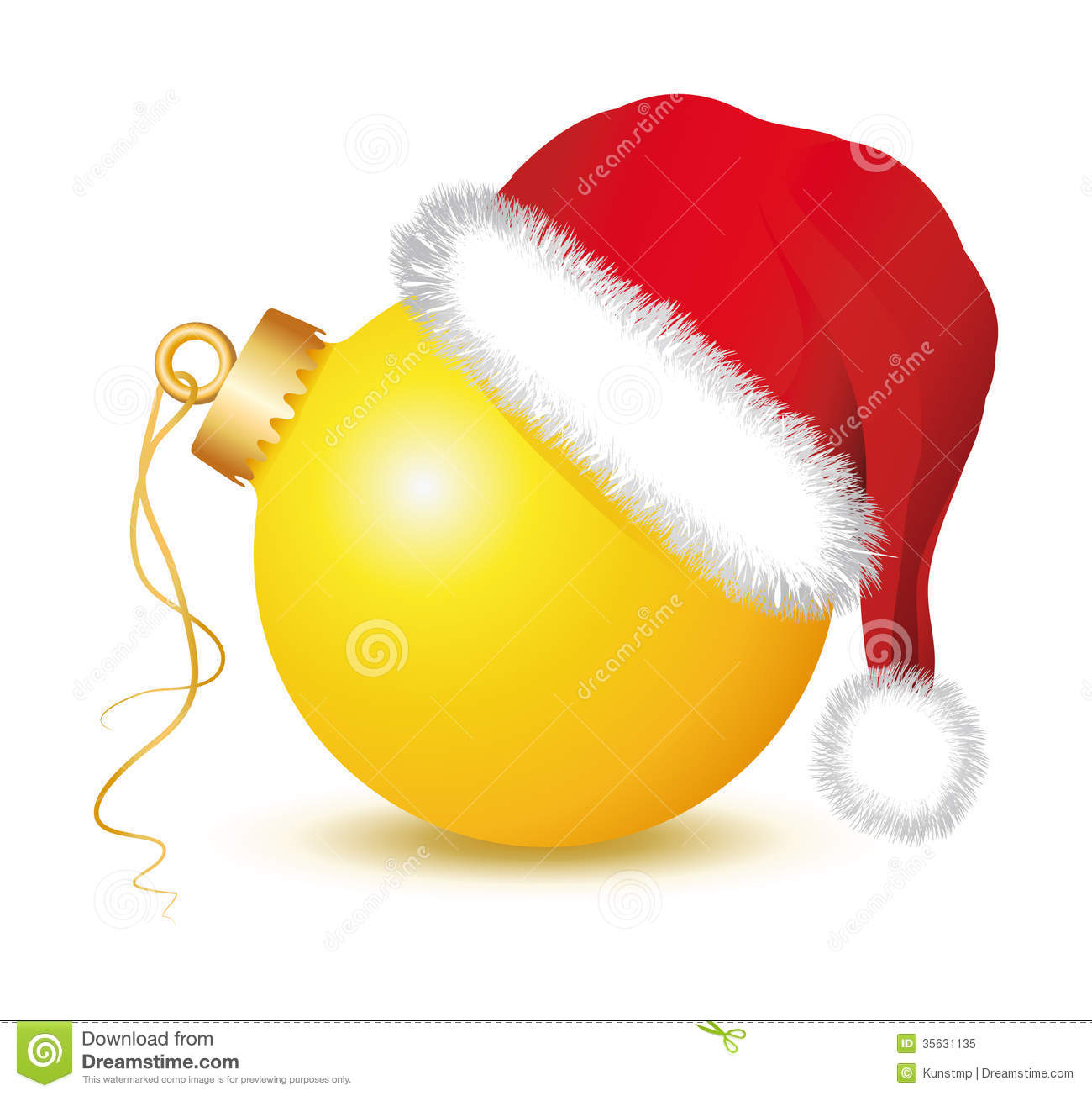 yellow christmas baubles santa claus hat golden ball ball red red cap fir twigs ornament white background advent 35631135