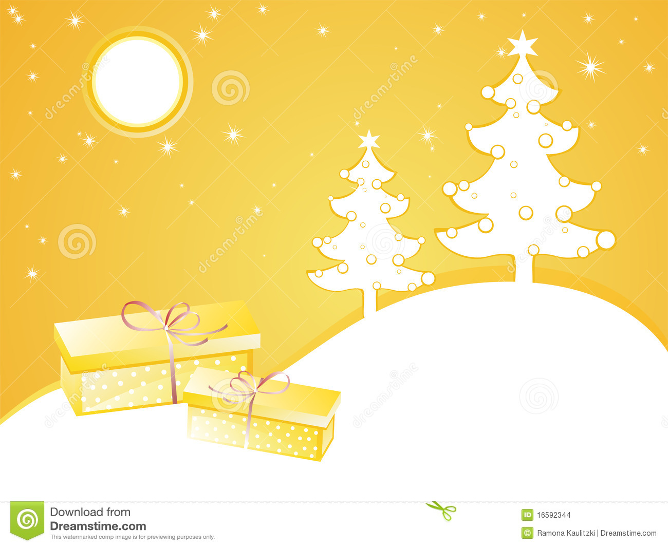 Yellow christmas card stock illustration. Illustration of lines ...