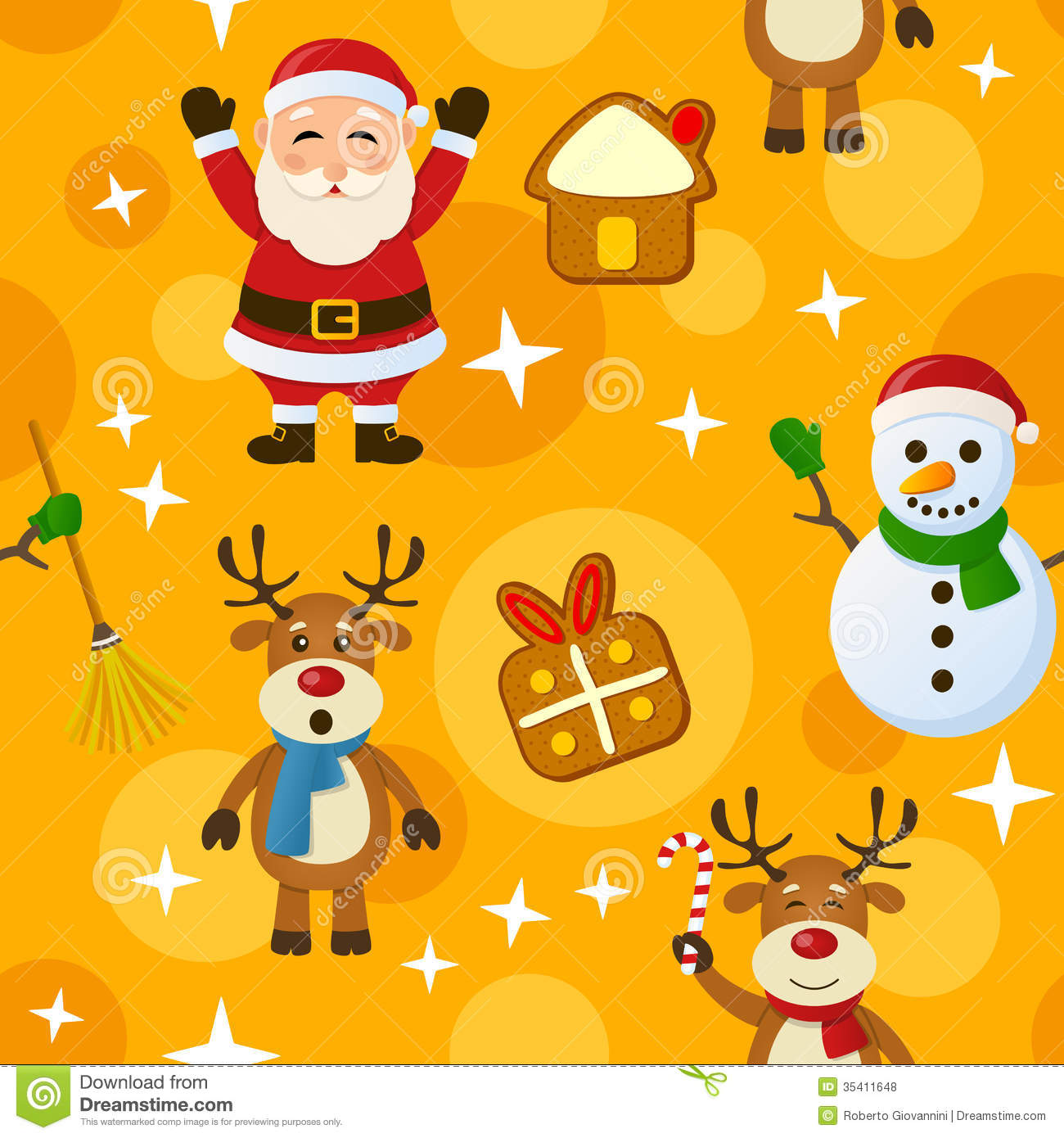 seamless pattern with Santa Claus, a snowman, reindeer and Christmas ...