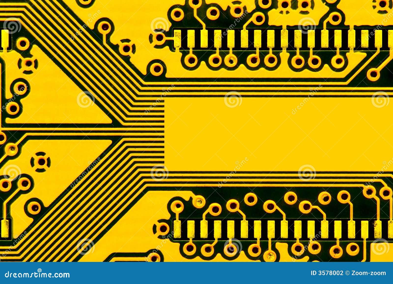 Yellow Circuit Board Stock Photography