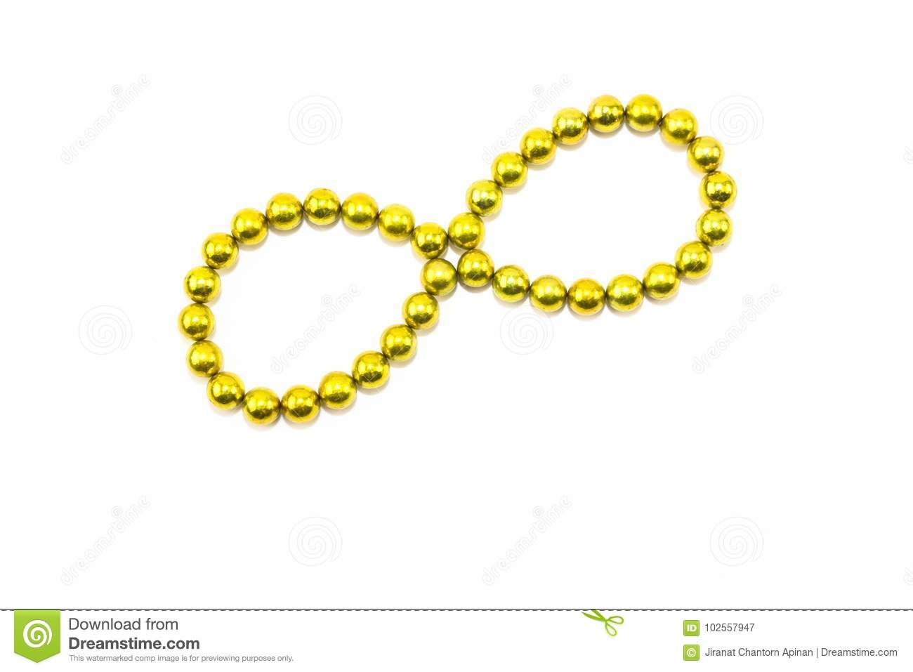 Yellow circular arrange in infinity on a white backdrop