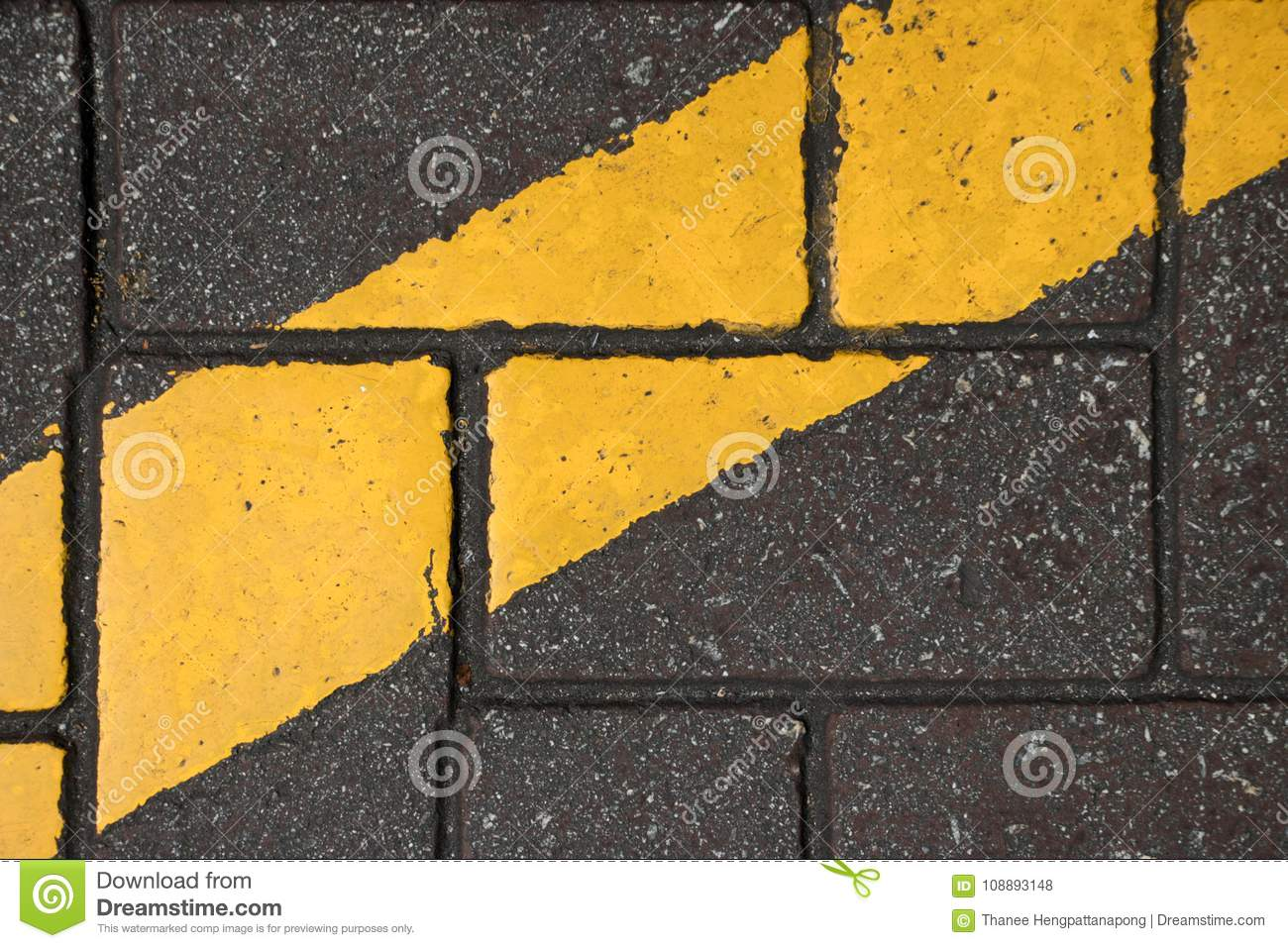 Yellow Color Line Paint On Concrete Block Stock Photo - Image of ...