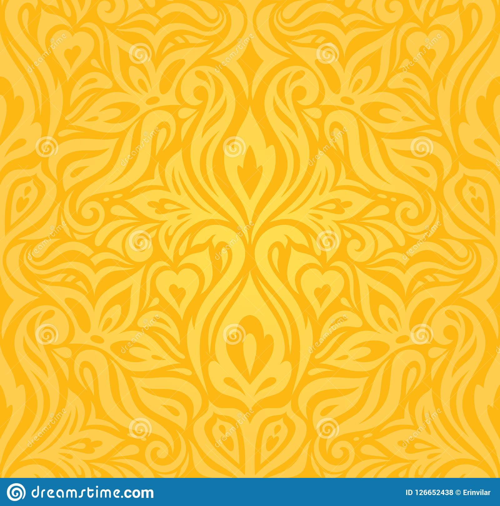 Yellow Colorful Floral Wallpaper Background Floral Pattern Fashion ...