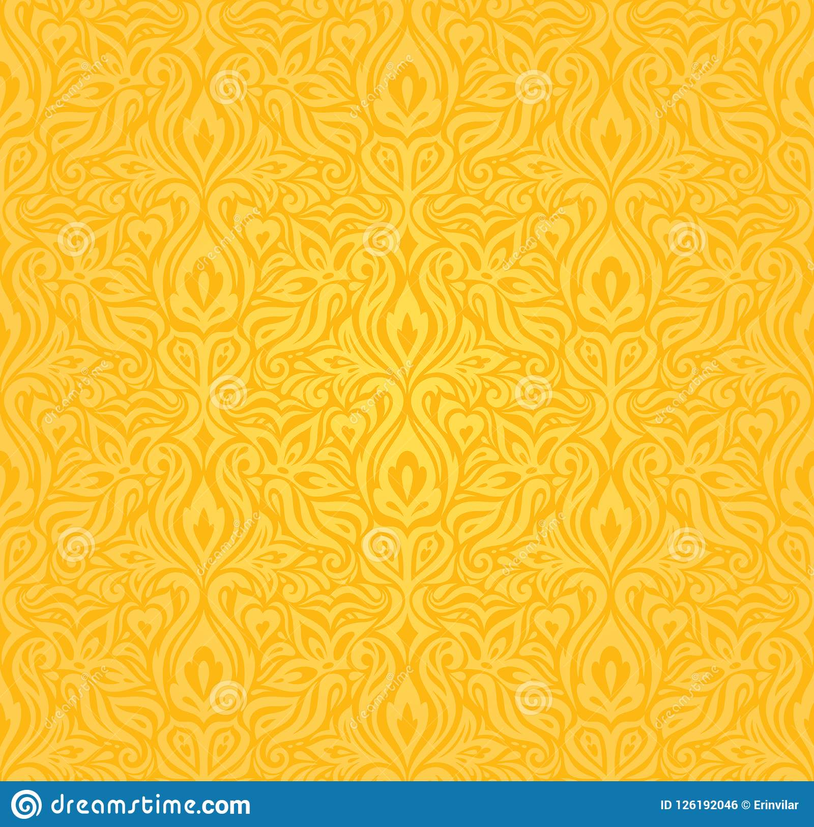 Yellow Colorful Floral Wallpaper Background Floral Pattern Stock