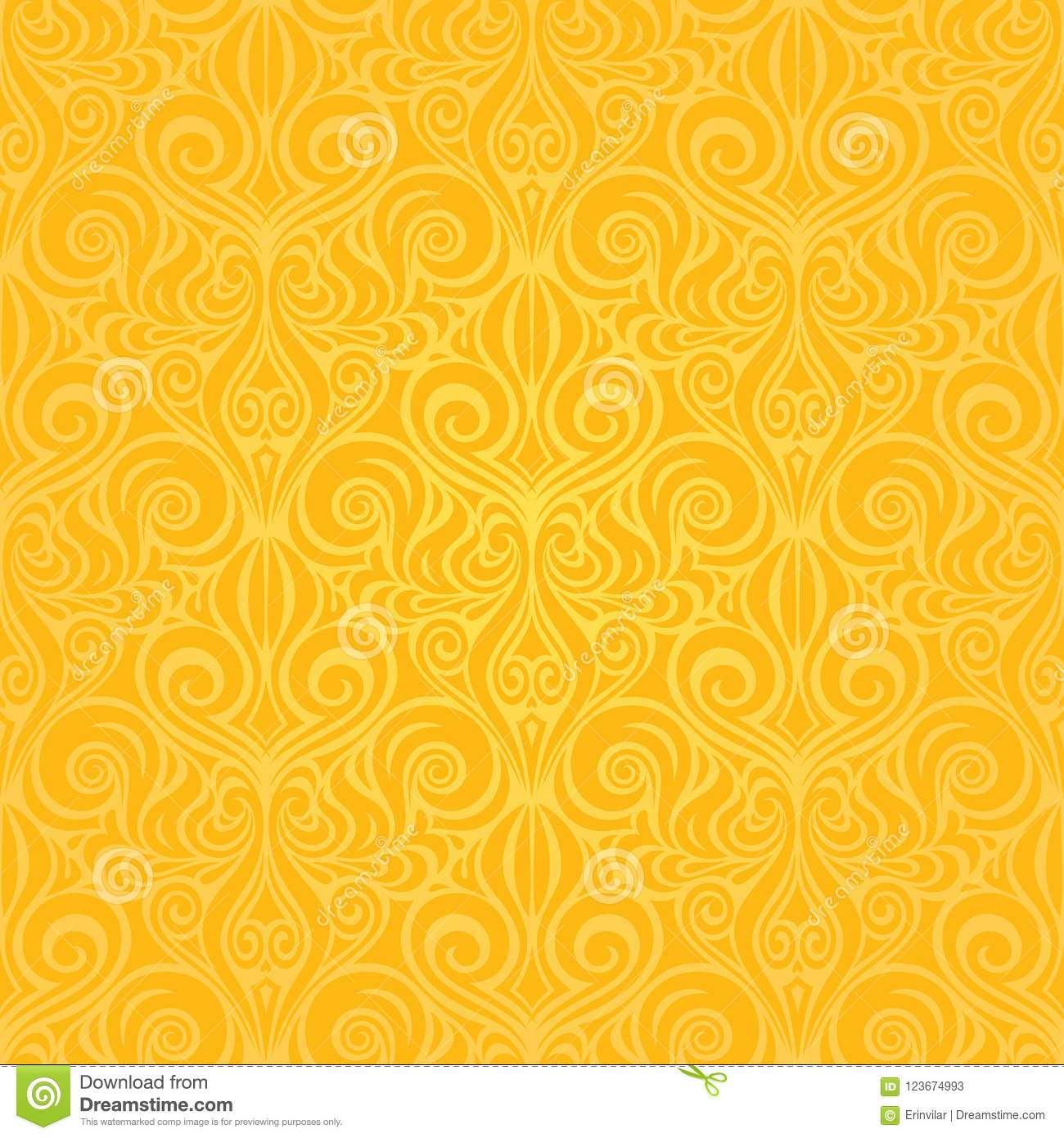 Yellow Colorful Floral Wallpaper Background Repeatable Pattern