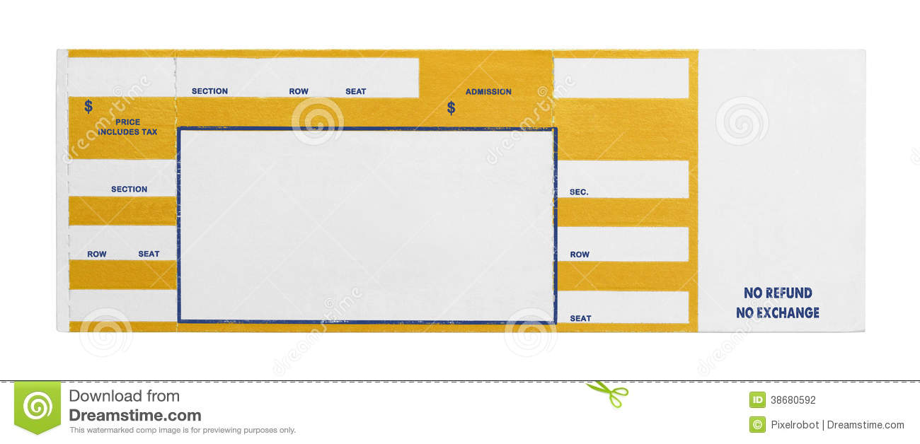 Blank Yellow Concert Performance Ticket Isolated on White Background.