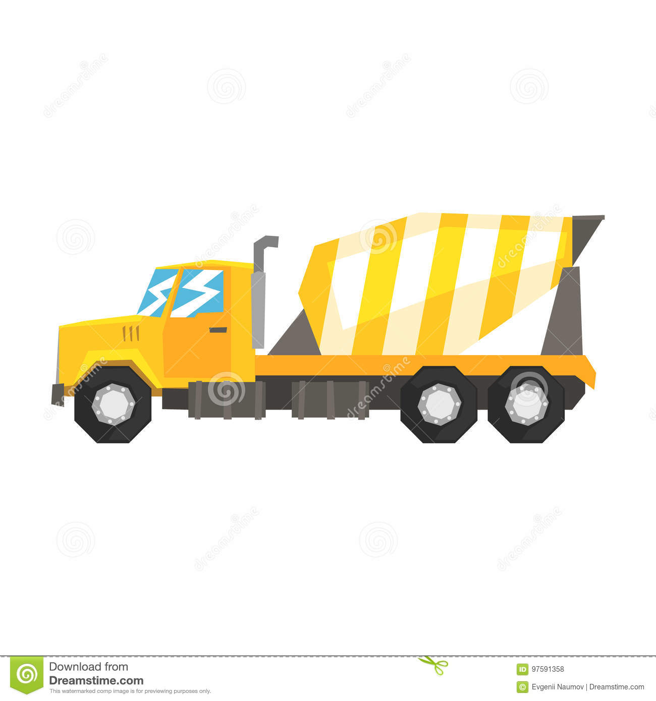 Yellow Concrete Mixer Truck Heavy Industrial Machinery Construction Equipment Vector Illustration On A White Background