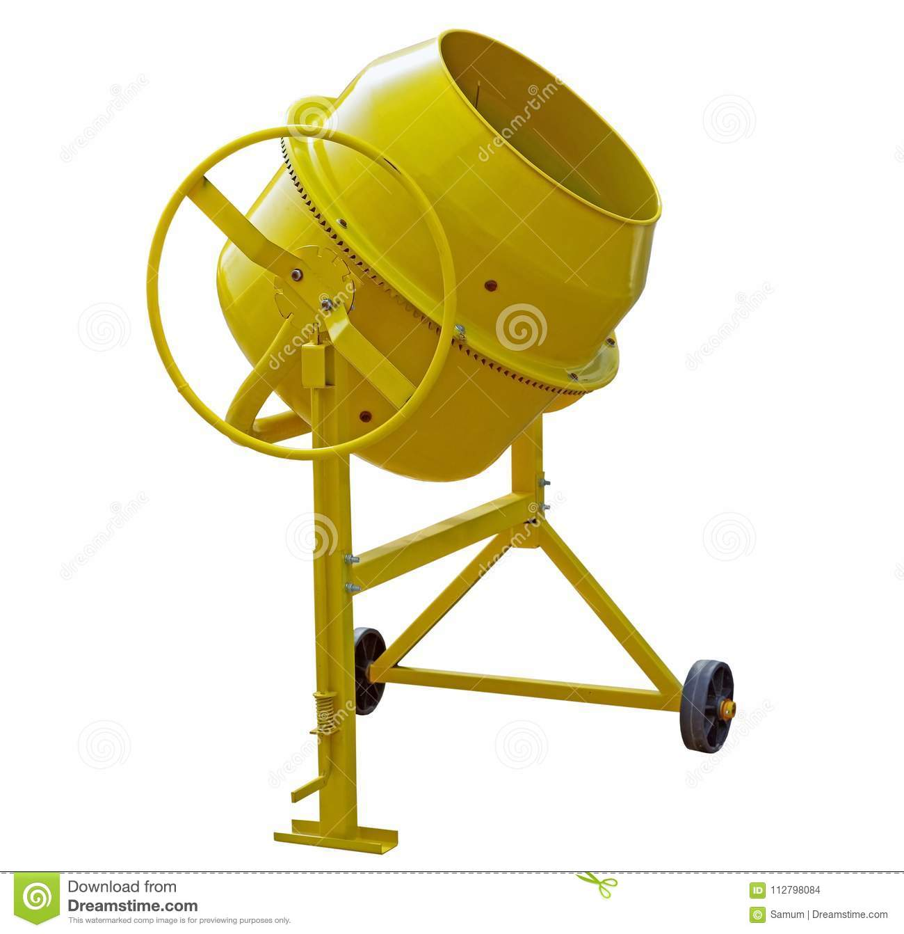 Yellow Concrete Mixer stock photo. Image of industry ...