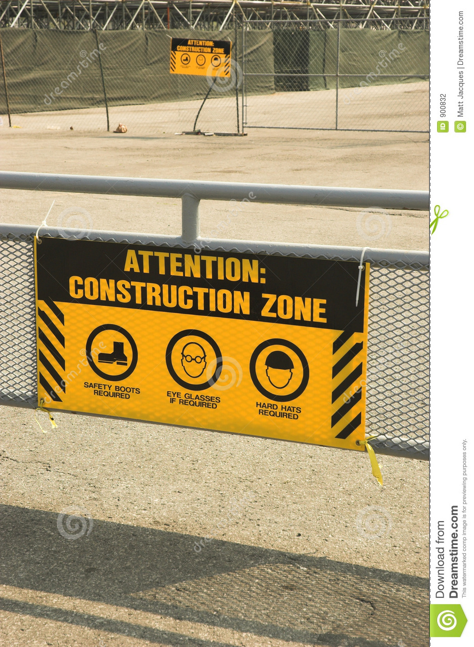 Yellow Construction Zone Sign Stock Photo Image Of Fence