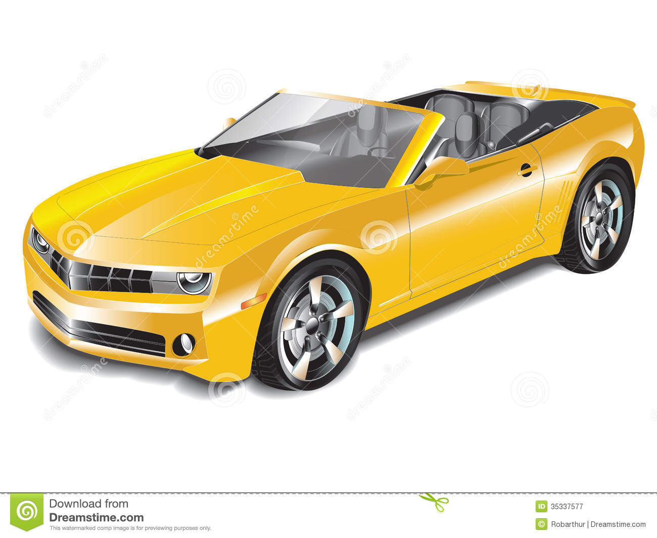 Yellow Convertible Sports Car Stock Vector Image 35337577
