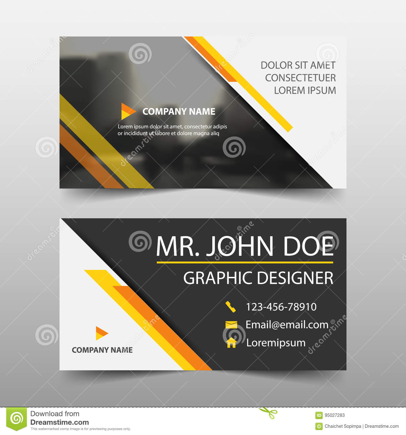 949438396040f Royalty-Free Vector. Yellow corporate business card
