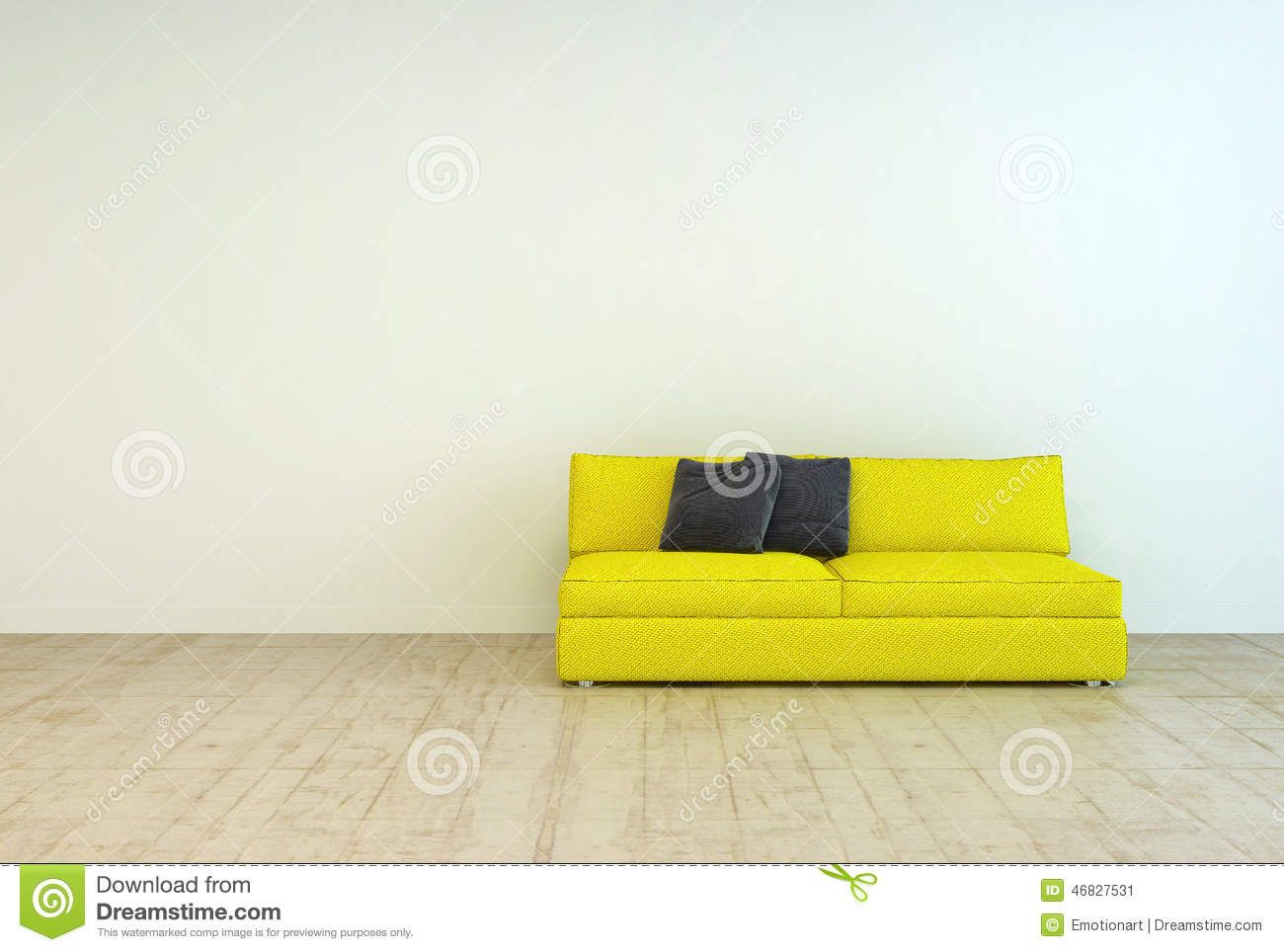 3d Office Floor Plan Yellow Couch Furniture On An Empty Living Room Stock