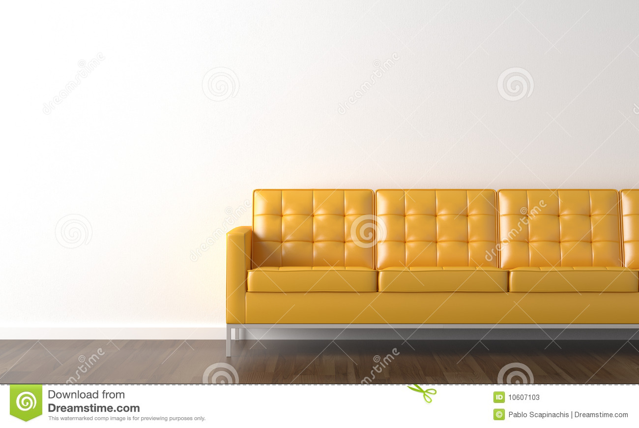 Yellow Couch On White Wall Stock Photos - Image: 10607103