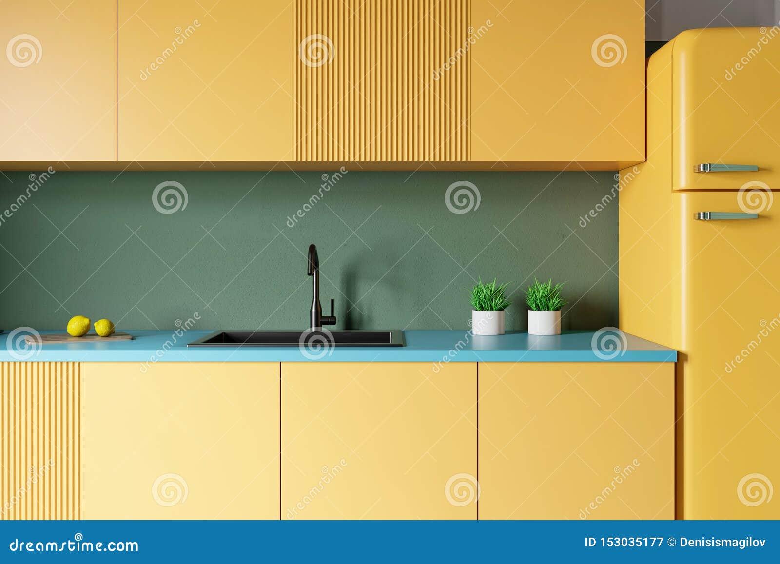 Yellow Countertops In Green Kitchen Stock Illustration ...