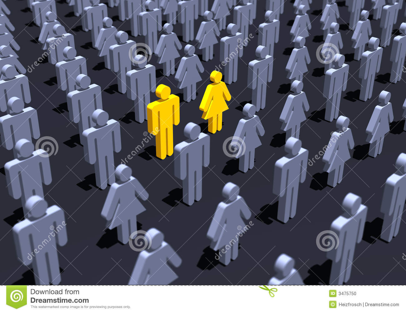 Yellow couple in crowd