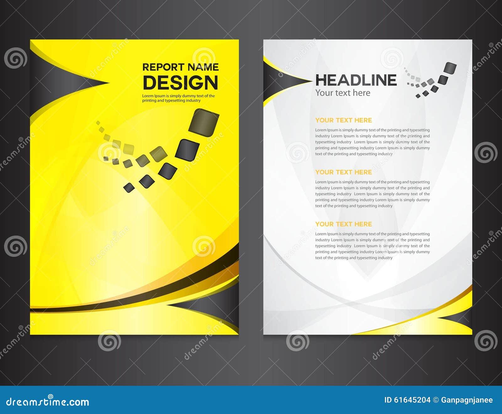 Yellow Book Cover Design : Yellow cover annual report design vector illustration