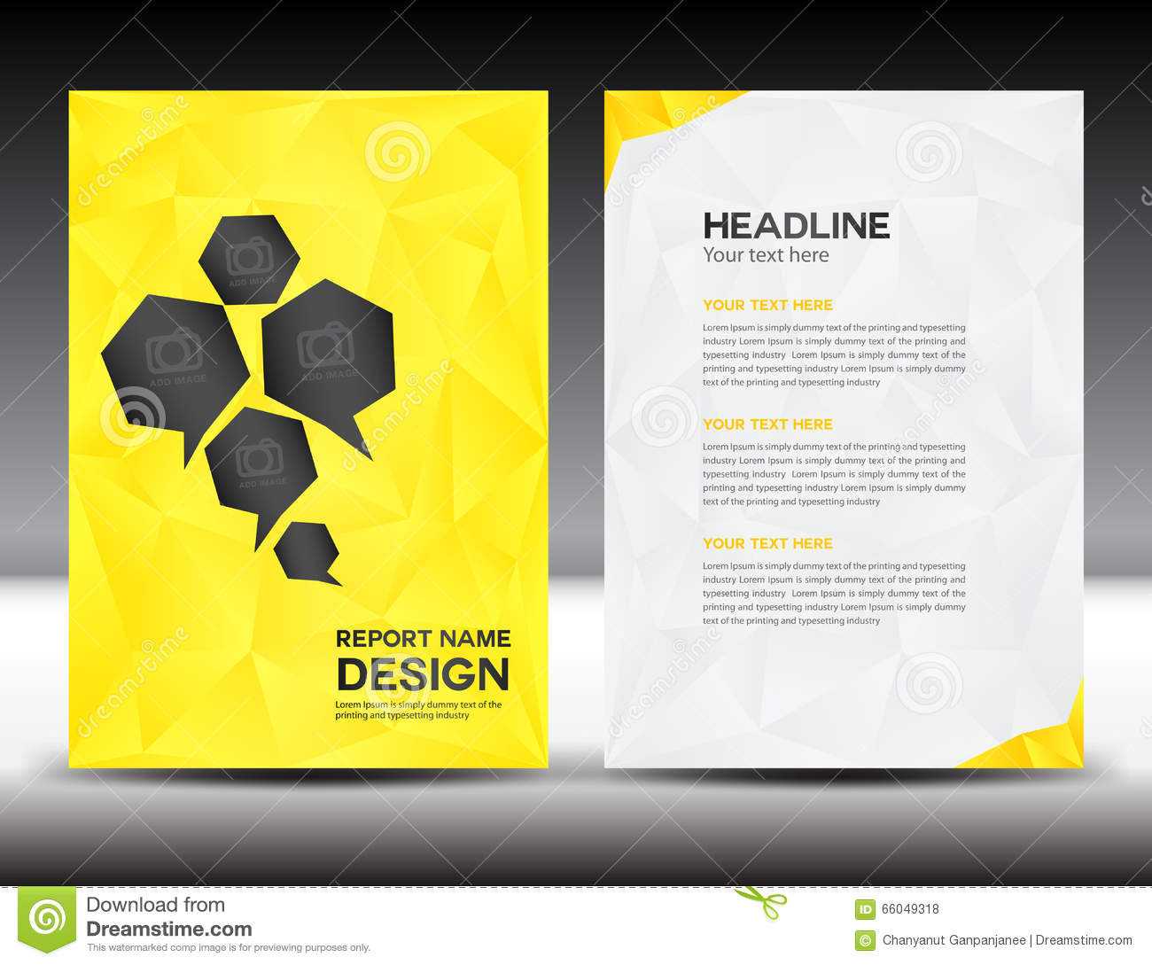 yellow cover annual report templatepolygon backgroundbrochure designcover templateflyer designportfolio