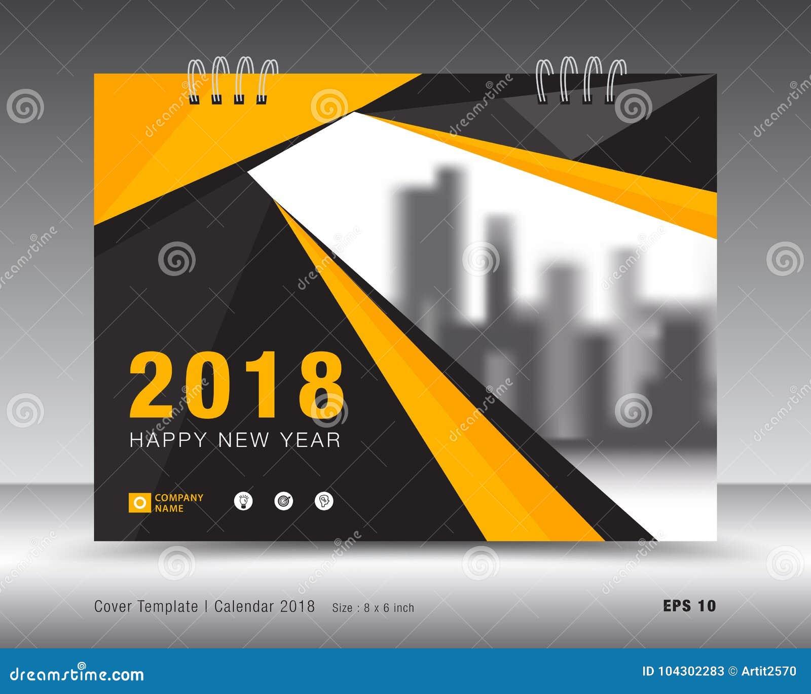 Yellow Cover Calendar 2018 Template Booklet Cover Stock Vector