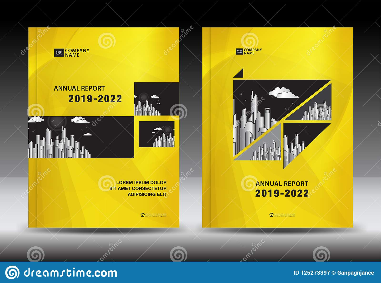 yellow cover template with city landscape annual report cover